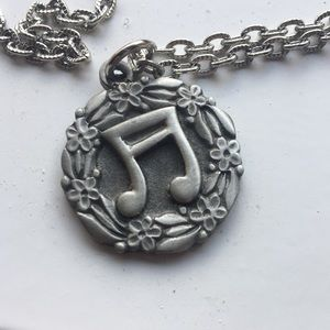 Music note Swedish Pewter pendent on chain R Tenn esmed jewelry mid century